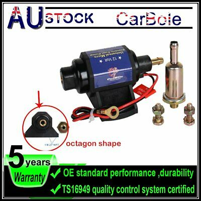 12v VOLT ELECTRIC FUEL PUMP. 4-7 psi. FITTINGS+FILTER FOR HONDA GMC FORD 35GPH