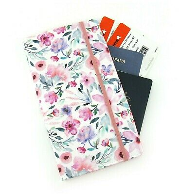 Watercolour Dainty Floral Travel Wallet Family Passport Wallet Travel Organiser