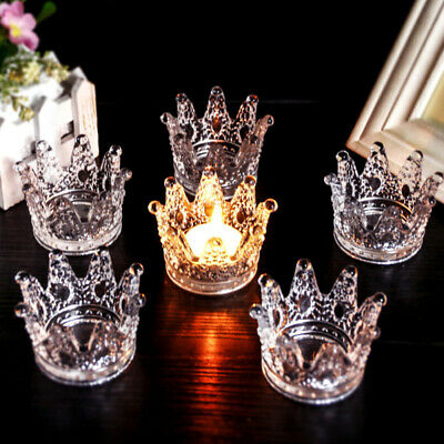 Clear Crystal Cuban Glass Round Crown Cigarette Ashtray Tobacco Tray Pra WOP