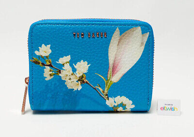 69adb79058 Ted Baker Beautiful Leather Bright Blue Harmony Floral Zip Around Small  Purse Bn