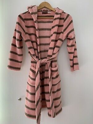 Girls Dresing Gown Joules Pink Stripe Casual Hood <JJ13212