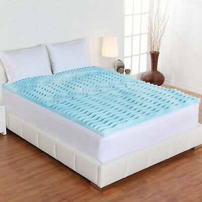 Cooling Gel Mattress Topper Memory Foam Orthopedic King Bed Hypoallergenic Cover