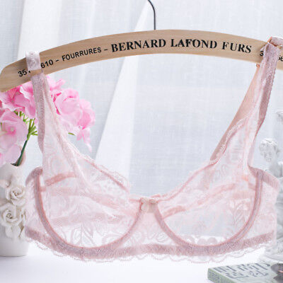 Women's Sexy 1/2 Cup Soft Mesh Underwired Demi Bra Unlined See Through Lace Bra