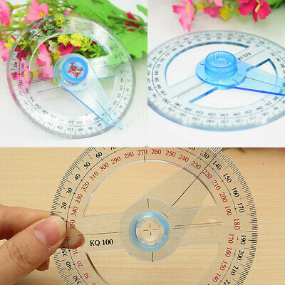 10cm Protractor Round Ruler Angle Swing Arm School Office Plastic Measuring Tool