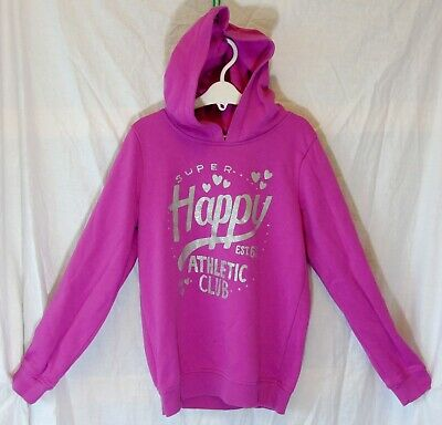 Girls George Pink Sparkly Silver Happy Hooded Sweater Hoodie Age 10-11 Years