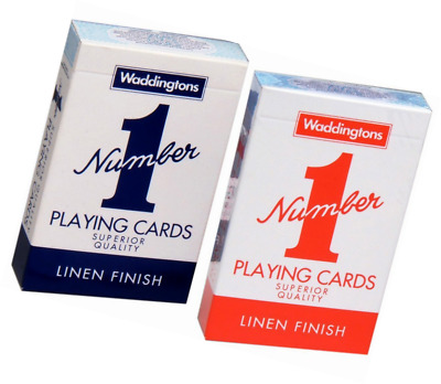 2x Waddington No.1 Playing Cards Quality RED & BLUE Classic Linen Finish Pack UK