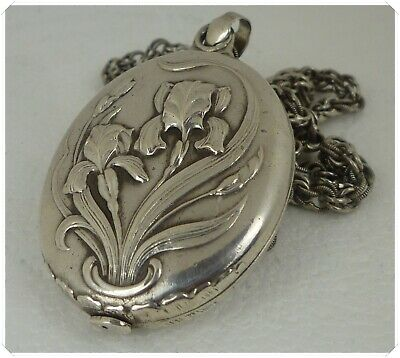 Antique French Sterling Silver Art Nouveau Picture Photo Reliquary Mirror Locket