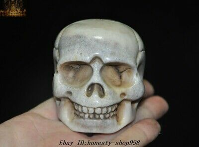 Rare Chinese Old Cattle Bone Carved Exorcism Skull Head Statue Amulet pendant