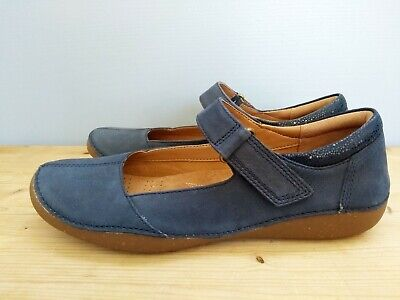 Ladies Unstructured By Clarks Ballerina Flats Freckle Ice 17 Blue Grey Nubuck UK Size 7D EU Size 41 US Size 9.5M
