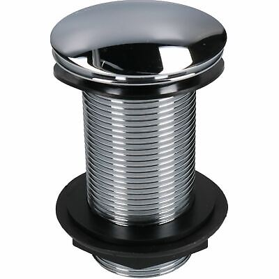 """1 1/4"""" 32mm Push-button Quick-Clac Chrome-Plated Brass Basin Bath Plug Unslotted"""