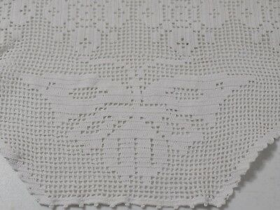 Vintage Hand Crocheted, Butterfly and Flower Filet Table Runner, Handmade, Old