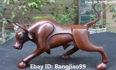 "16"" Chinese Fengshui Pure Bronze Cattle Oxen Bull Bullfight Animal Statue"
