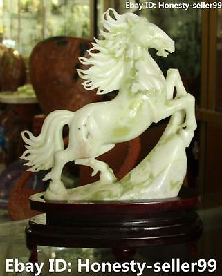 "16""  Rare Chinese Pure Natural Jade Success Running Horse Horses Animal Statue"