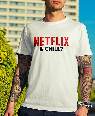 Mens Netflix & Chill Tshirt - Funny Gift Novelty Movie Tv Stag Geek Swag Em1