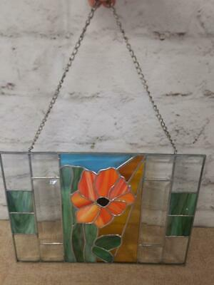 """Leaded Stained Glass Panel Orange Floral Window Hanging 14"""" x 10""""."""