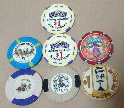 Las Vegas Casino Poker Chip 7 Piece Lot - Horseshoe Texas Gambling Hall Caesars