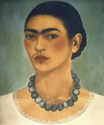Frida Kahlo, Self portrait with necklace 1937, Hand Signed Lithograph