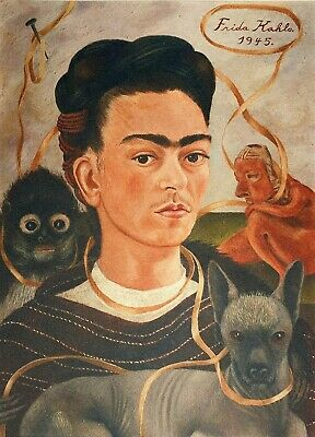 Frida Kahlo, Self Portrait with Small Monkey 1945, Hand Signed Lithograph