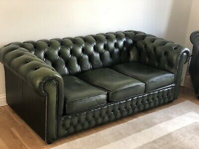 Leather chesterfield sofas - Three Seater & Armchair. Green. Used.