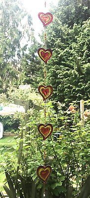 Stained Glass String of 5 Hearts Sun Catcher Hanging Window Decoration Love Red