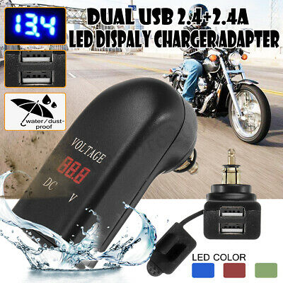 LED Voltmeter Dual USB Charger Adapter DIN Plug Socket For Motorcycle BMW
