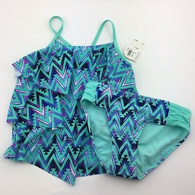733ab144f4 NWT Justice Girls Tankini Swimsuit Size 10 Tiered Chevron Aztec Green Blue