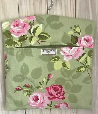 Peg Bag Made In Nancy Rose Sage Green  Quality Cotton Fabric - Laundry