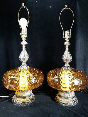Pair Vintage Table Lamps Amber Glass Mid Century Hollywood Regency Rare Design