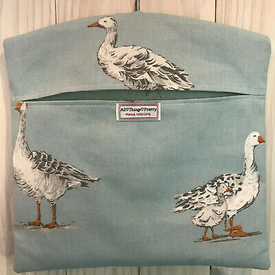 Peg Bag Made In 'Geese' Design In Duck Egg - Quality Cotton Fabric - Laundry