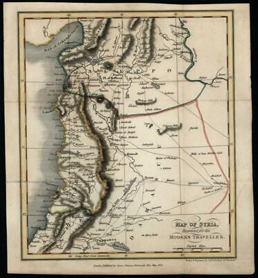 Syria Middle East Aleppo Damascus 1824 Sidney Hall engraved small map