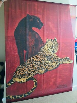 Warwick Reynolds Leopard & Black Panther  Large Wall Hanging Art Fabric Mural