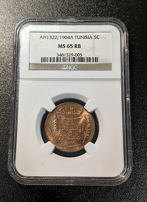 1322 1904 A MS65 RB 5 Centimes NGC UNC KM 228 Scarce condition!