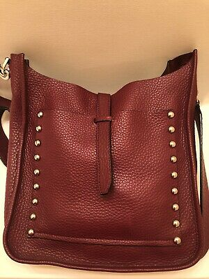 f4cd8e398 NEW REBECCA MINKOFF Burgundy Red Unlined Studded Feed Crossbody Bag ...