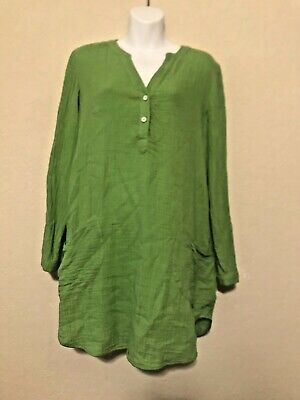82c3e53f832 Soft Surroundings Medium Tunic Top Bright Green Shirt Button Front Blouse
