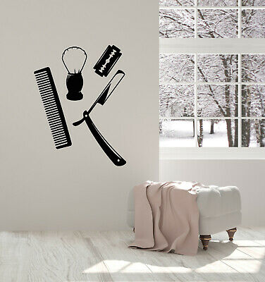 Vinyl Wall Decal Barber Shop Men's Hairstyle Shaving Comb Stickers Mural (g554)