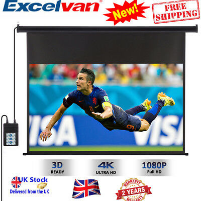 Excelvan 100 Inch 16:9 Motorized HD Projector Projection Screen Cinema Theater