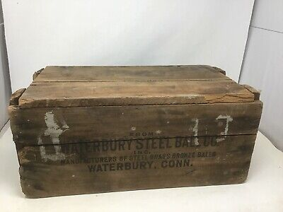 Vintage Advertising Crate Waterbury CT Steel Ball Co Steel Brass Bronze Balls
