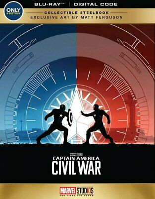 New! Captain America Civil War Collectible Steelbook Edition (Blu-Ray + Digital)