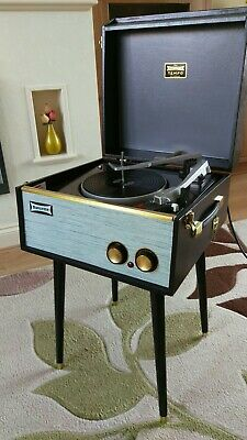 Fabulous BLACK AND GREY DANSETTE TEMPO 1960s RECORD PLAYER Full Refurb