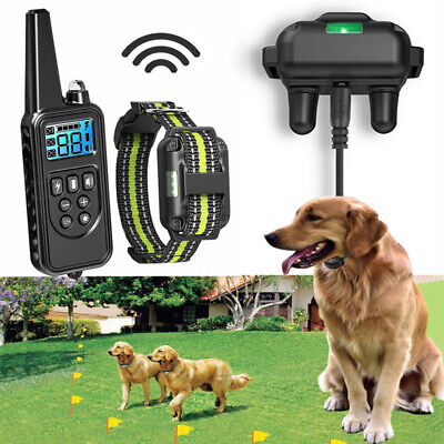 Dog Shock Collar Remote Waterproof Electric Large 800M Training Rechargeable New