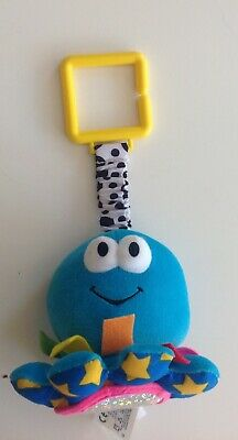 BABY Plush LAMAZE Blue Octopus Clip On Toy Squeaky Toy - Pram Cot Buggy Toy Cute