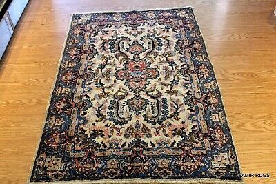 ON SALE Early 1900 Persian Rug Small Blue & Beige Throw Rug AUTHENTIC PERSIAN