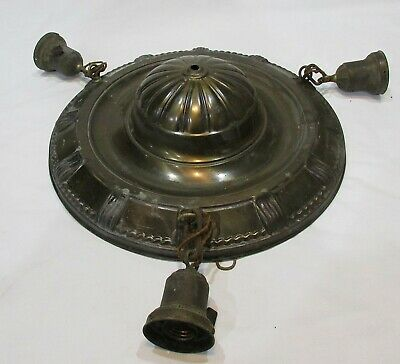 antique 30's 40's art deco brass  ceiling mount chandelier for restoration