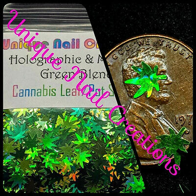 CANNABIS LEAF/POT SHAPE GLITTER~Nail•Acrylic•Gel•Body Art•Face•Festival