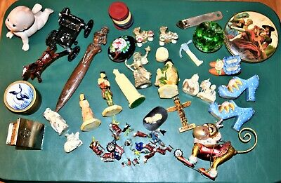 GOOD STUFF.. Large Junk Drawer Lot French Compact Japan Figures Lancaster Toys