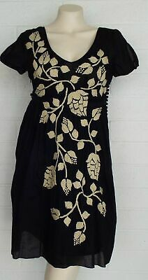 8b2ed9dabac Johnny Was JOYSTICK Small black ivory floral hand embroidered cotton short  dress
