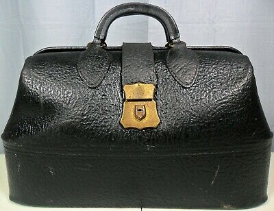 Antique Or Vtg. Schell Dr. / Physician Black Cowhide Leather Satchel Bag /Travel