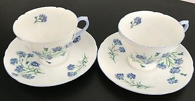 Pair Of Vintage 1960's Shelley 'Cornflower' Tea Cups And Saucers