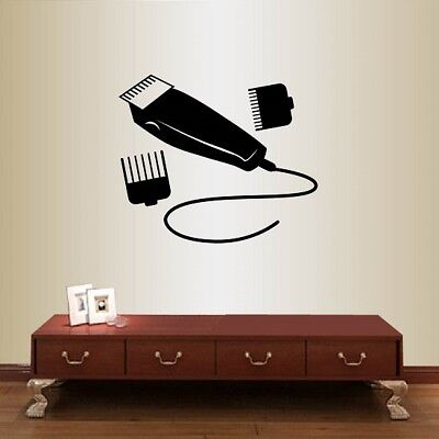 Vinyl Decal Barber Shop Electric Clippers Male Haircut Tools Wall Sticker 2210