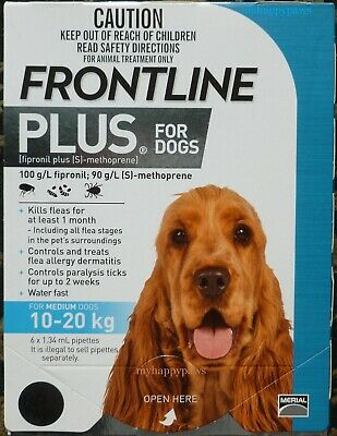 Frontline Plus 6 Months Pack/Supply For Dogs 23-44lbs 10-20KG BLUE BOX